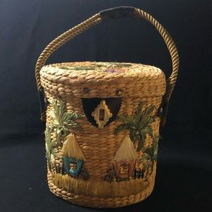 Vintage Straw Palm Tree and Hut Tote